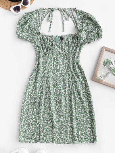 Ditsy Floral Tie Back Puff Sleeve Milkmaid Dress - Deep Green S