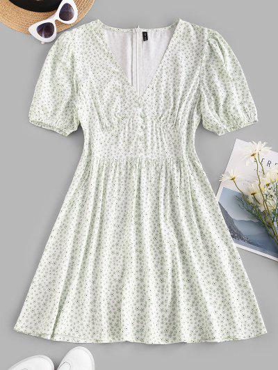 Mini Vestido Floral Abotonado Manga Campana - Blanco S