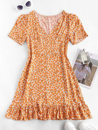 Ditsy Print Flounced Hem Dress - Dark Orange M