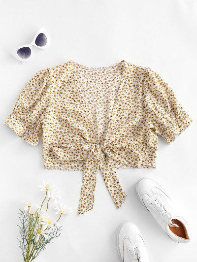 Ditsy Print Puff Sleeve Tie Front Blouse - Light Yellow L