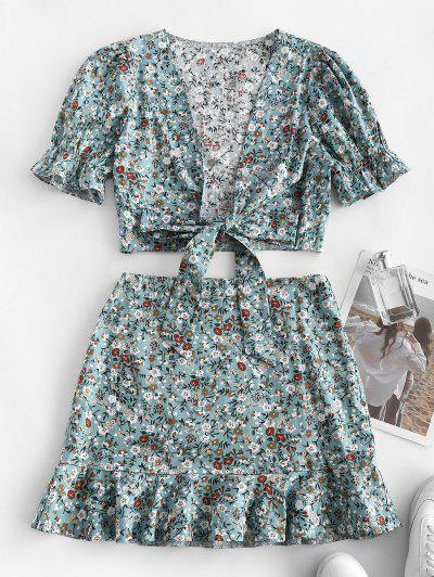Ditsy Print Tie Front Top And Ruffle Skirt Top - Light Blue M