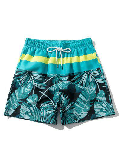 Tropical Leaf Vacation Shorts - Macaw Blue Green M