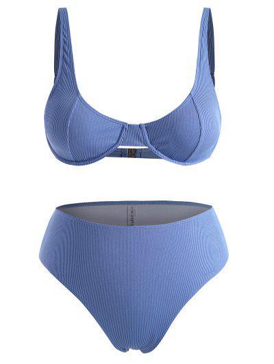 ZAFUL Plus Size Underwire Ribbed High Waist Bikini Set - Blue Xxxl
