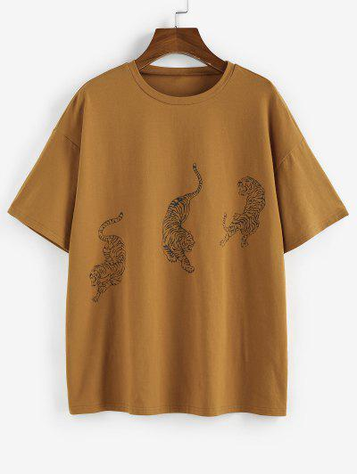 ZAFUL Tiger Print Drop Shoulder Boyfriend T-shirt - Coffee S