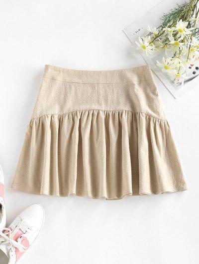 ZAFUL Cotton Pleated A Line Skirt - Light Coffee M