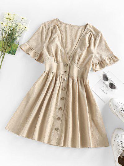 ZAFUL Button Front Plunge Ruffle A Line Dress - Light Coffee Xl