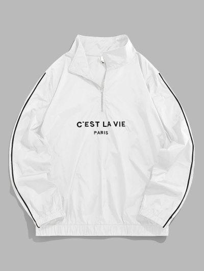 ZAFUL Sweat-shirt Lettre Brodée à Quart Zip - Blanc M