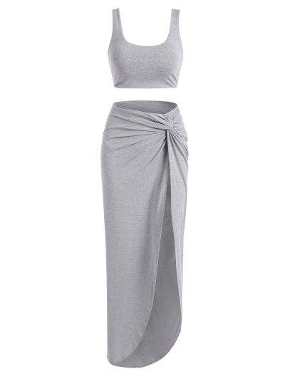 2pcs Marled Tank Top And Twist High Slit Skirt With Briefs - Gray S