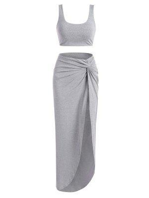 zaful Marled Tank Top and Twist High Slit Skirt Set