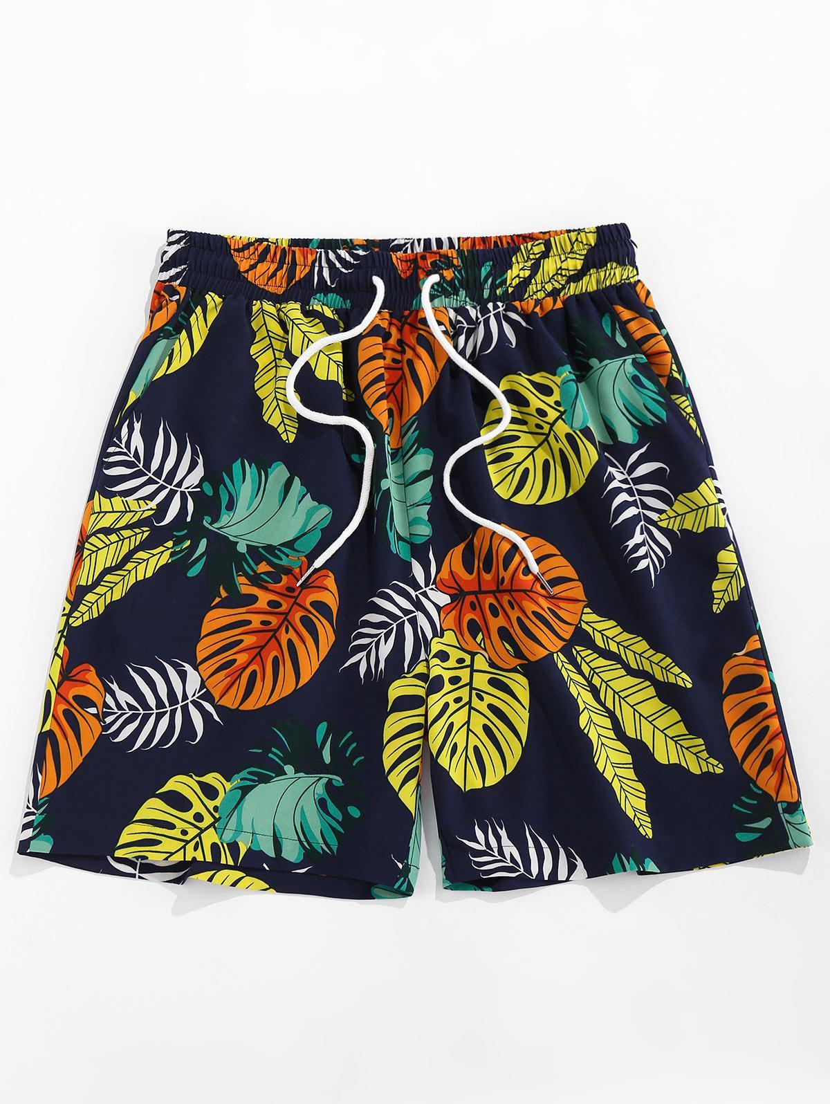 Zaful Tropical Leaves Print Shorts