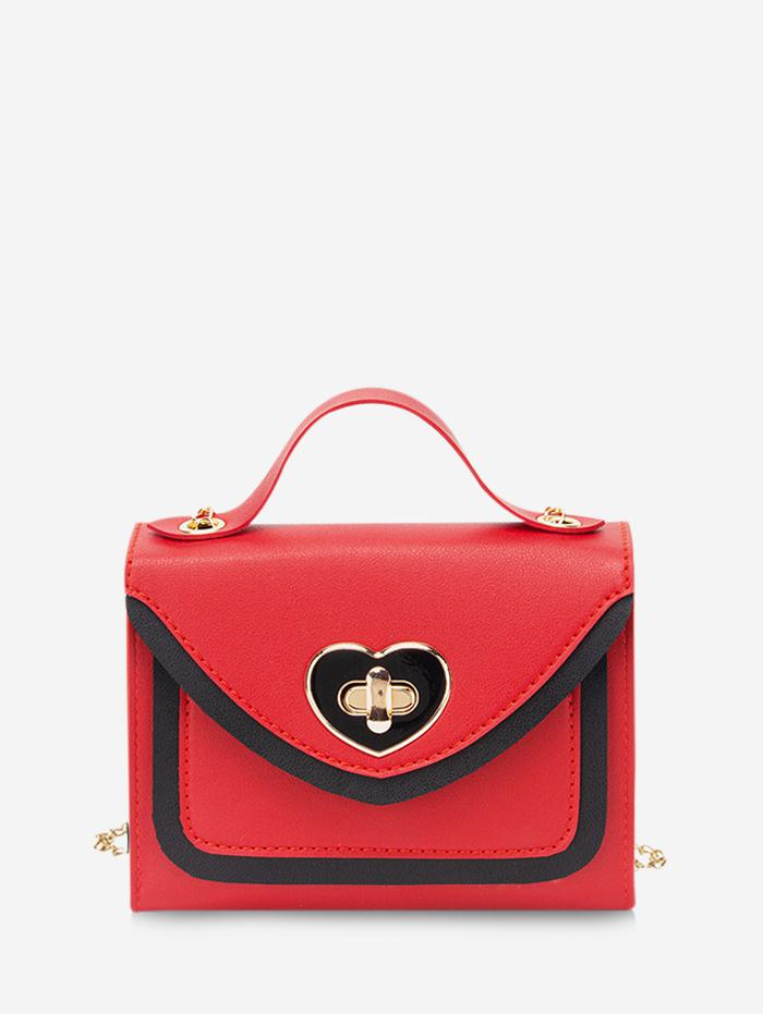 Zaful Colorblock Heart Hasp Handbag