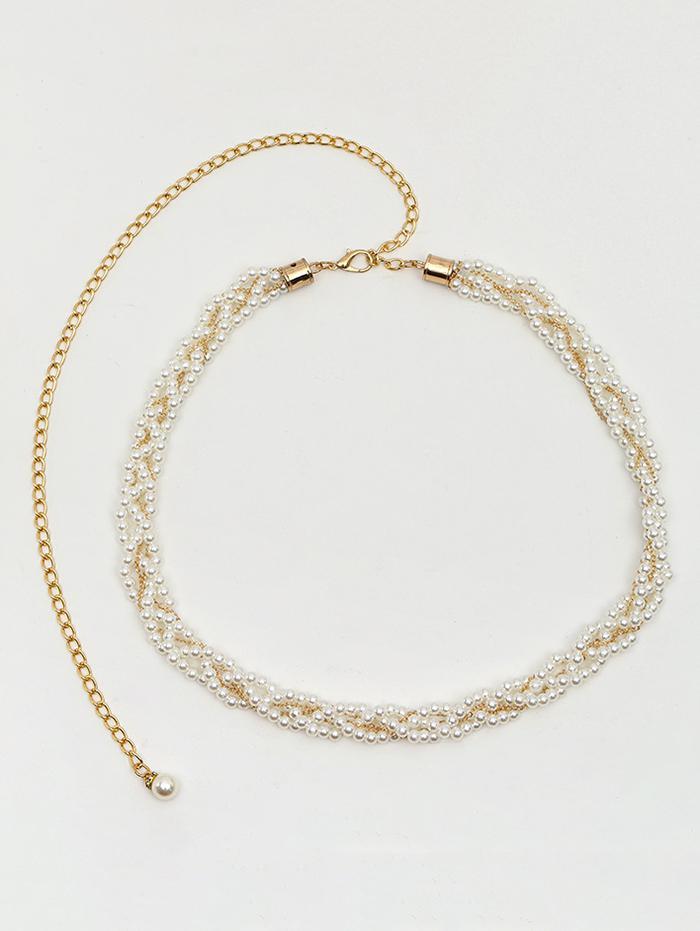 Faux Pearl Braid Dress Waist Chain