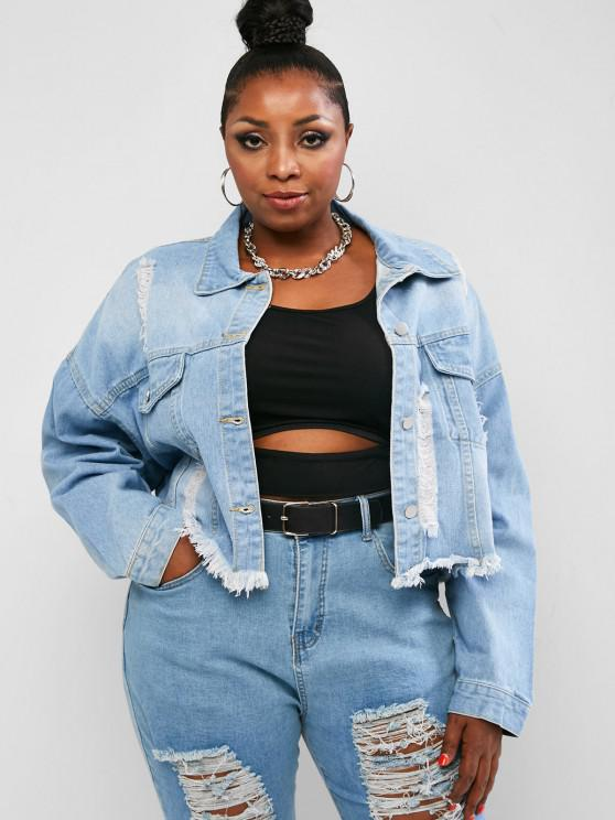 online Plus Size Distressed Frayed Drop Shoulder Denim Jacket - BLUE L
