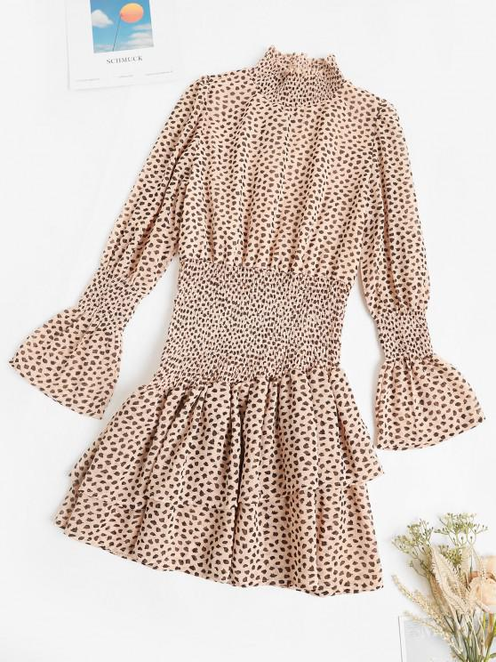 hot Smocked Spotted Print Poet Sleeve Layered Dress - LIGHT COFFEE L
