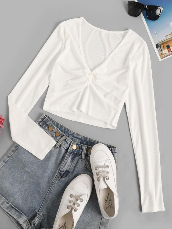 outfits Cropped Twisted Front Ribbed Tee - WHITE L