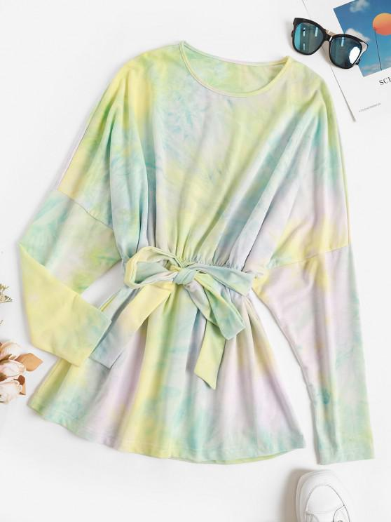 Tie Dye Skirted Tied Waist Tunic Top - الأصفر S