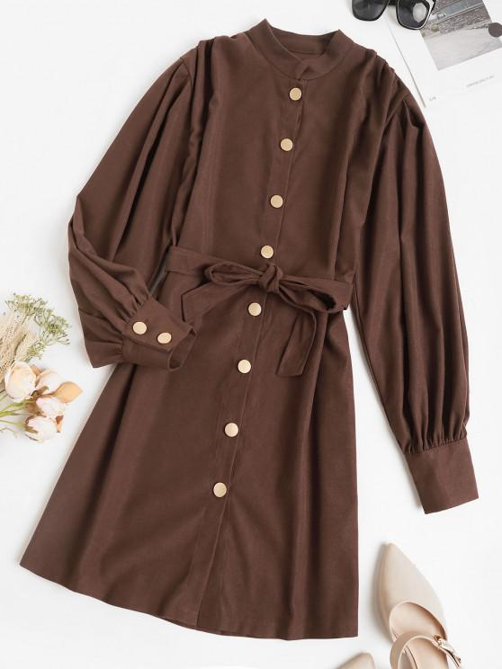 ladies Belted Casual Balloon Sleeve Shirt Dress - DEEP COFFEE M