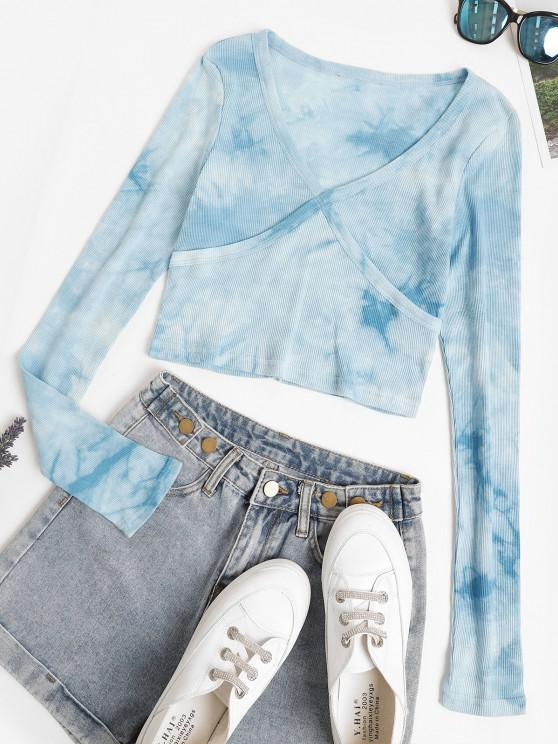 sale Ribbed Stitching Tie Dye Baby Tee - LIGHT BLUE S