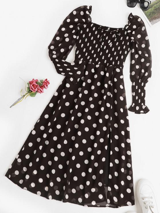 affordable Puff Sleeve Polka Dot Smocked Milkmaid Dress - BLACK L