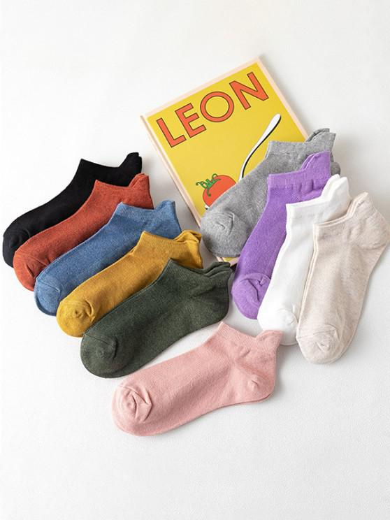 10 Pairs Solid Breathable Anti-Chafe Ankle Socks Set - متعدد
