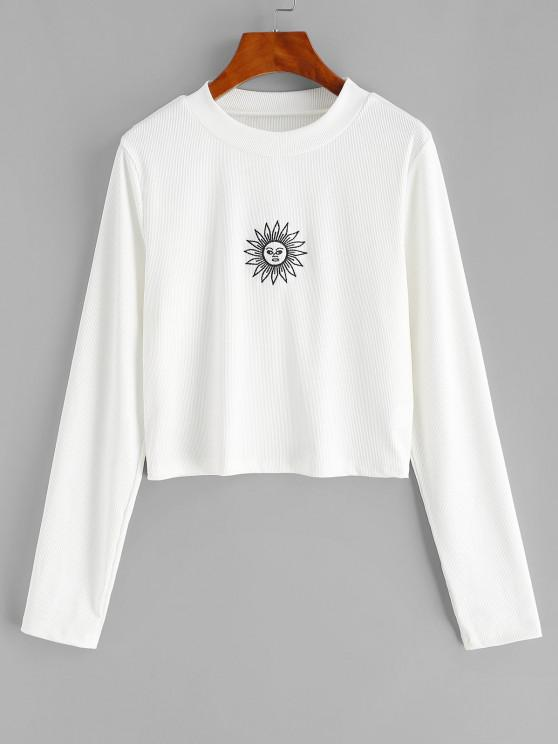 ZAFUL Plus Size Rib-knit Sun Embroidered Long Sleeve Top - أبيض L