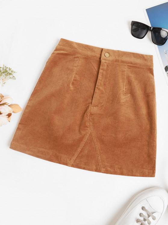 fancy High Waisted Corduroy Solid Mini Skirt - COFFEE S
