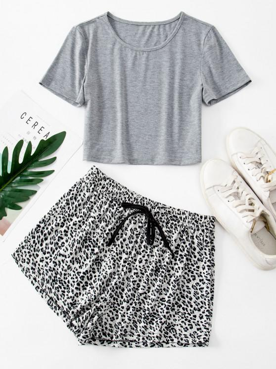 women Basic Crop Tee and Leopard Two Piece Shorts Set - GRAY S