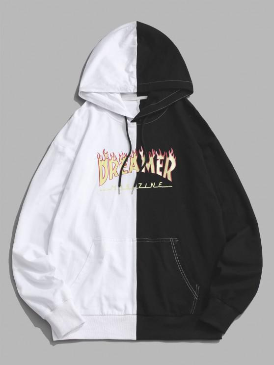 trendy Dreamer Flame Two Tone Hoodie - BLACK S