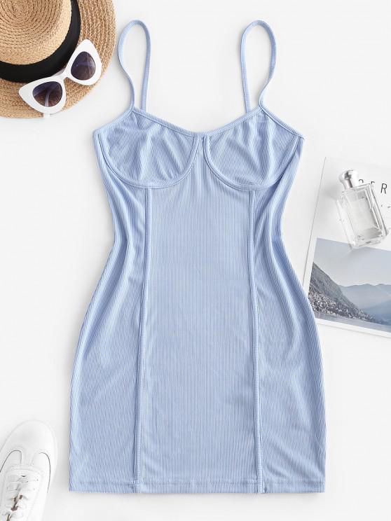 Vestido de Tirante Fino con Detalle de Mar y Canalé - Azul claro M
