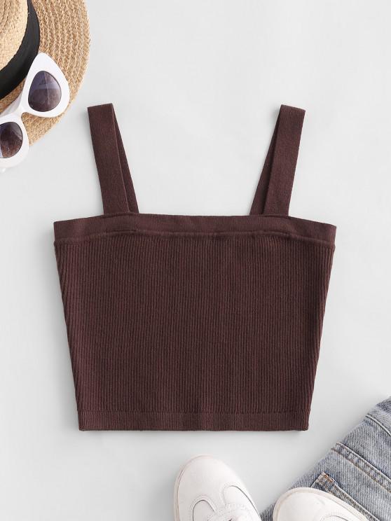 Ribbed Knit Crop Tank Top - القهوة العميقة S