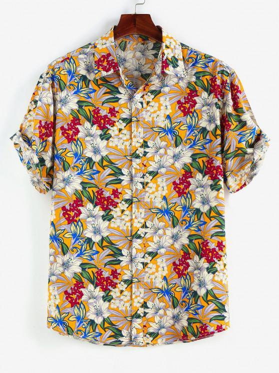 chic ZAFUL Allover Flower Print Button Up Shirt - WHITE XL
