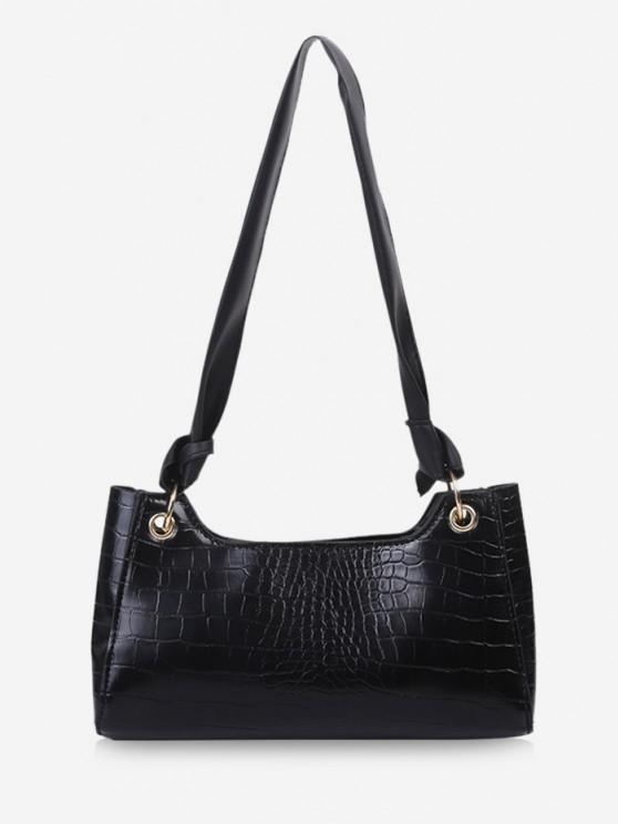 outfit Textured Knotted Shoulder Bag - BLACK