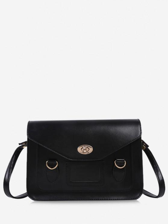 Retro Cover Shoulder Bag - أسود