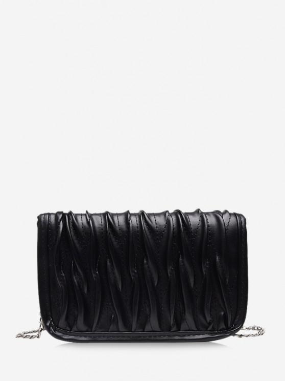 trendy Pleated Chain Crossbody Bag - BLACK