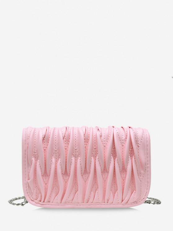 chic Pleated Chain Crossbody Bag - PIG PINK