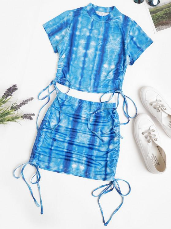trendy Tie Dye Cinched Cropped Two Piece Dress - BLUE M