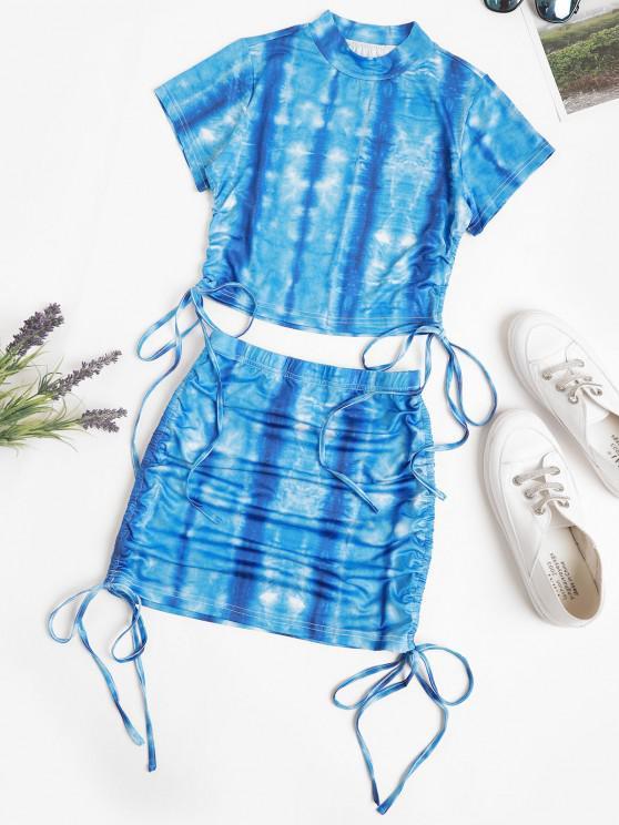 Vestido duas peças com Tintura de Gravata - Azul S