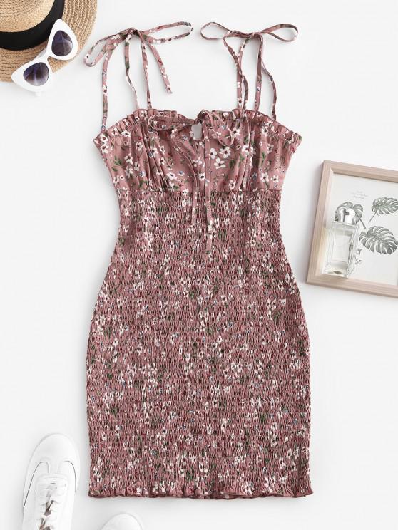 trendy Flower Smocked Ruffle Tie Shoulder Keyhole Dress - LIGHT PINK L