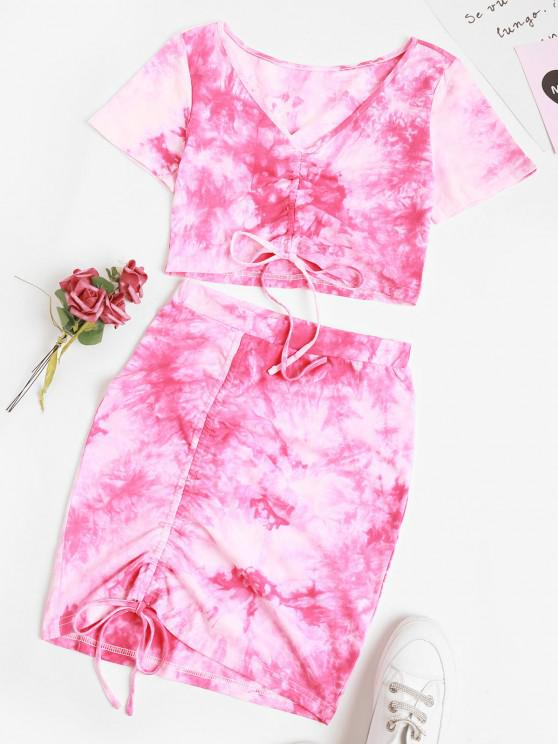 fashion Tie Dye Cinched Two Piece Skirt Set - LIGHT PINK S