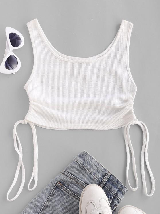 Strukturiertes Knit Crop Tanktop - Weiß XL