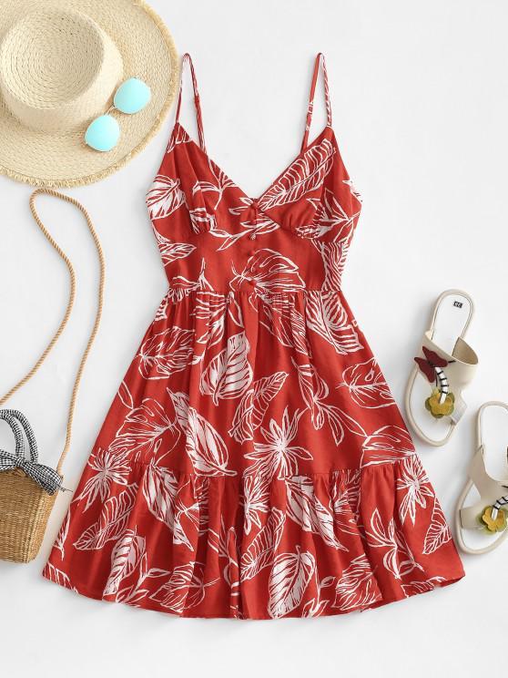 best Leaf Print Smocked Mock Button Flippy Hem Dress - RED M