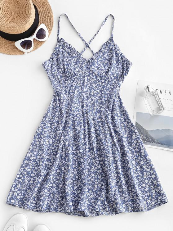 affordable Ditsy Floral Criss Cross Frilled Cami Dress - BLUE M