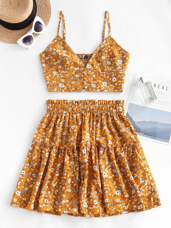 affordable Floral Smocked Back Frilled Two Piece Skirt Set - DEEP YELLOW M