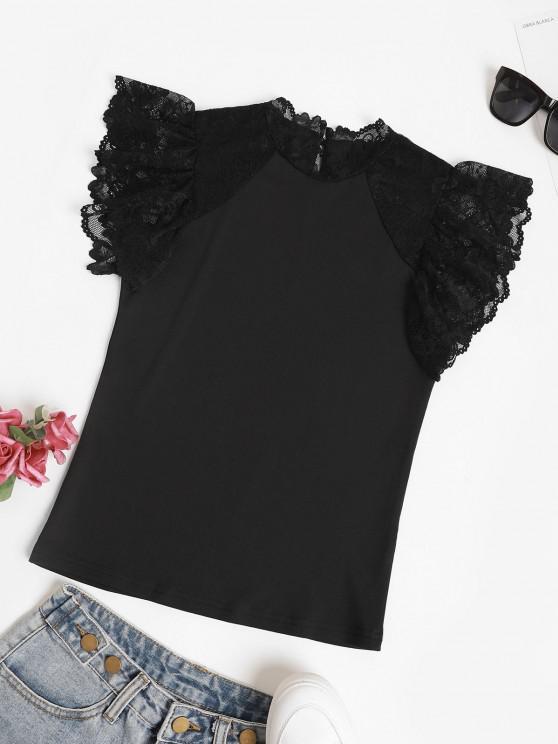 Scalloped Lace Panel Ruffled Sleeve Blouse - أسود L