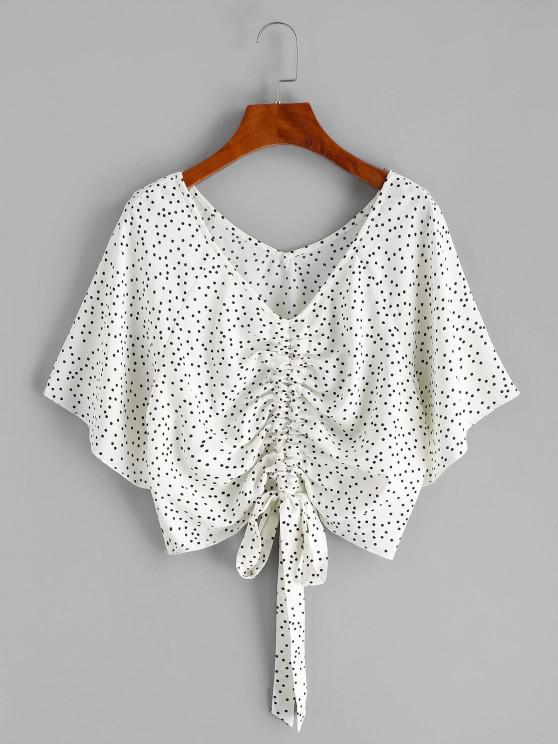 latest Polka Dot Raglan Sleeve Cinched Blouse - WHITE XL