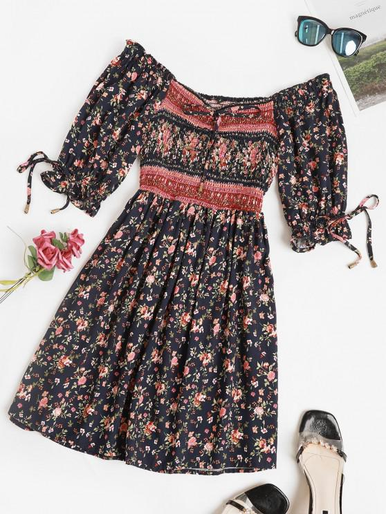 affordable Ditsy Floral Smocked Puff Sleeve Mini Dress - DEEP BLUE S