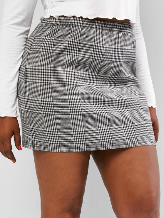 womens ZAFUL Plus Size Houndstooth Slinky Mini Skirt - MULTI L