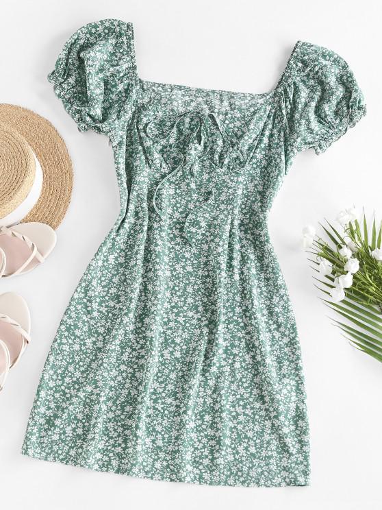 sale ZAFUL Ditsy Print Ruffle Puff Sleeve Keyhole Dress - LIGHT GREEN M