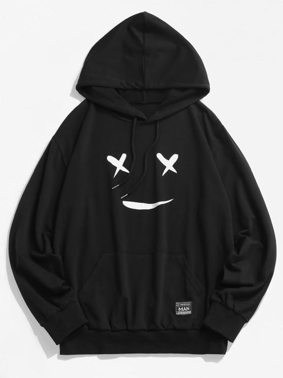 Cartoon Face Graphic Print Applique Detail Hoodie - أسود M