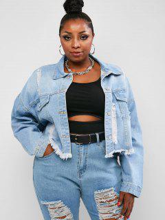 Plus Size Distressed Frayed Drop Shoulder Denim Jacket - Blue 4xl